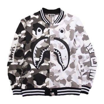 kuyou A Bathing Ape 'Split City Camo Shark Sweat Varsity' Black