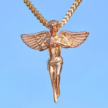 18K Gold Tone Angel Piece Pendant With Franco Necklace