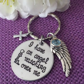 Memorial Jewelry - Fallen soldier Memorial - Military Cross - Remembrance keychain - I have an angel watching over me - Soldier family remem