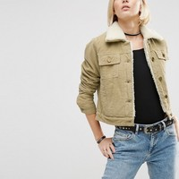 ASOS Cord Cropped Jacket in Stone with Fleece Lining and Collar at asos.com