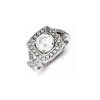Sterling Silver Round 8.10mm CZ Ring: RingSize: 7
