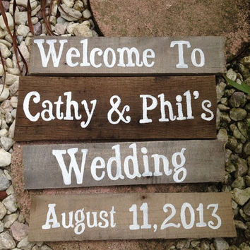 Hand Painted Recycled Wood Plank - Rustic Wedding Sign - CUSTOM ORDERS ONLY