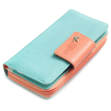 Sweet Color Block and Zipper Design Women's Wallet