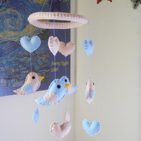 Birds and Hearts Mobile. Pink and Light Blue baby Mobile. Felt Mobile.
