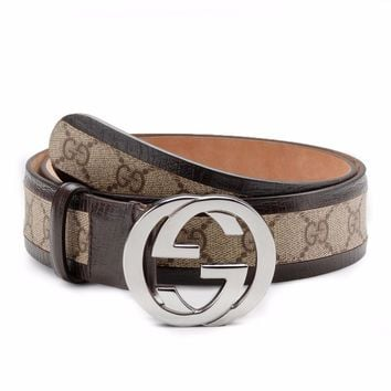 GUCCI Leather Belt for Men DOUBLE G Size: 28 NWT