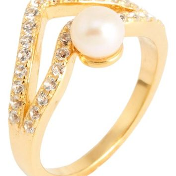 Women's Alex Mika 'Double V' Shell Pearl Ring - Yellow Gold