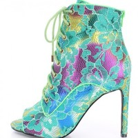 Green Multi Lace Up Tie Single Sole Booties Fabric