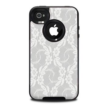 The White Floral Lace Skin for the iPhone 4-4s OtterBox Commuter Case