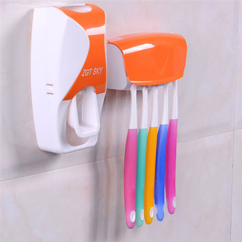 Fashion Plastic Automatic Toothpaste Squeezing Device + Toothbrush Holder Set Bathroom Accessories