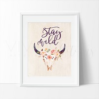 Stay Wild, Floral Cow Skull
