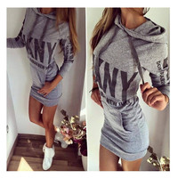 Women Fashion Long Sleeved Hip Dress