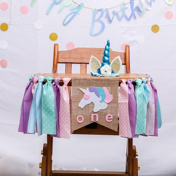 Unicorn One First Birthday Chair Banner Baby Girl Boy Bunting Princess Flag Baby Shower Party Decorate Nursery Garland