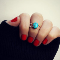 sterling silver knuckle ring with turquoise stone, hammered knuckle rings, turquoise ring, stacking rings, ring set