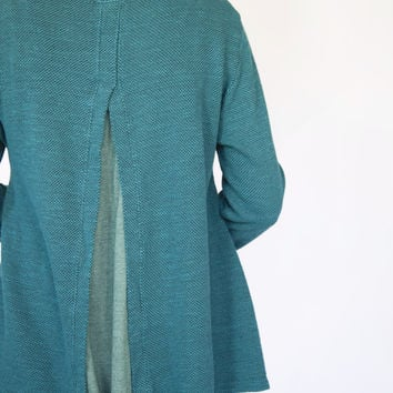 Plume & Thread Teal Tweed Sweater