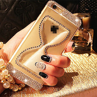 4 Colors Chain Crystal Quicksand Hard Phone Skins for iphone 6 6s for iphone 6 6s  plus