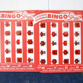 Square Red Bingo Game License Plate Vintage Collectible Automotive Toy Travel