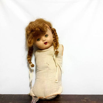 Antique Composition Baby Doll Teeth No Arms Legs Sleepy Eyes Red Hair Braided Pigtails Chippy Distressed Vintage Creepy Decor Collectibles