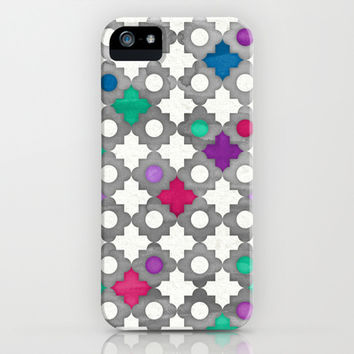 Color Pop Moroccan in fuchsia, blue, emerald green, grey & white. iPhone & iPod Case by micklyn