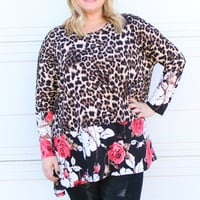 Wild About Roses Leopard Print Tunic With Floral Contrast ~ Coral ~ Sizes 12-18