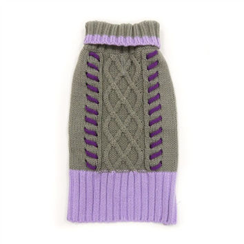 Braided Grey and Purple Dog Sweater XXS - 2XL by Dogo Pet Fashions