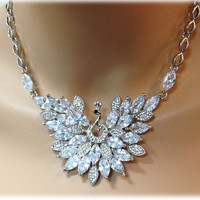 Peacock Motif Wedding Necklace set, cz crystal jewelry set, cubic zirconia crystal bridesmaid gift Crystal necklace jewelry set
