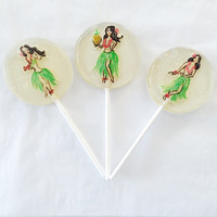 3 Coconut flavored lollipops with hand painted Hula girls and iridescent edible glitter