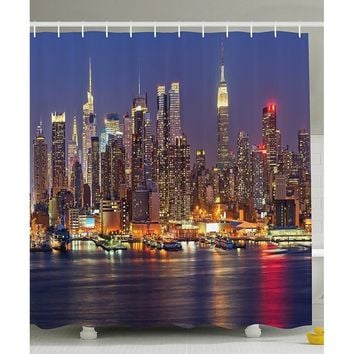 Cityscape Art Deco Collection, NYC New York City Night Skyline Scenery View Artwork Picture Prints, Polyester Fabric Bathroom Sh