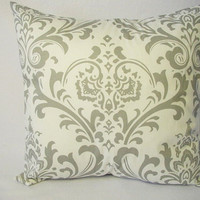 Two 20 x 20 Inch Damask Decorative Throw Pillow Covers in Grey and White - Cushion Cover Accent Pillow