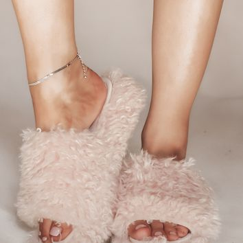 Pretty Posh Pink Furry Platform Slides