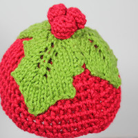 First Christmas newborn crochet beanie with knitted holly leaves and berries , holiday, dressy, green and red, 0-3 months