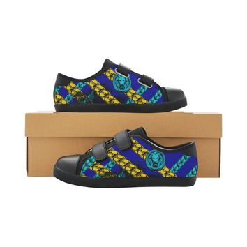 Kids Shoes Blue Chain Velcro Black Trainers