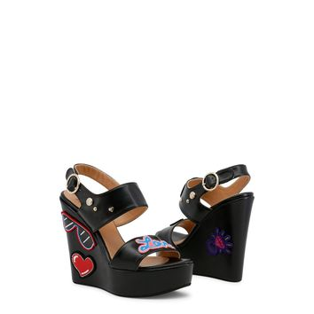 Love Moschino Embroidered Wedge Sandals