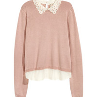 Fine-knit Sweater with Collar - from H&M