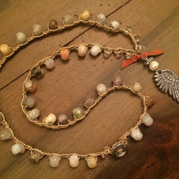 Boho Angel Wing Necklace, Crochet Natural Stone Necklace, Agate Beaded Necklace, Freshwater Pearl