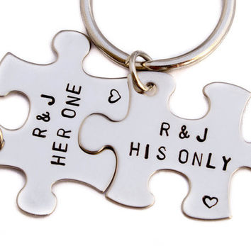 Her One His Only Keychains | Puzzle Piece Key Chains | Hand Stamped Couples Gift | 2 Keyrings | Anniversary Gift | Boyfriend Girlfriend Gift