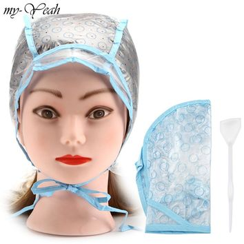 Hair Dyeing Cap + Hook Brush Coloring Highlighting Tinting Cover Protector DIY Home Use Pro Salon Hair Styling Tools