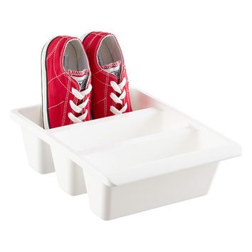 White 3-Section Shoe Bin