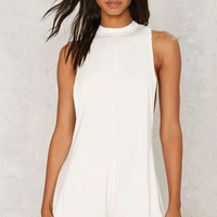 Low Key Mock Neck Romper - White