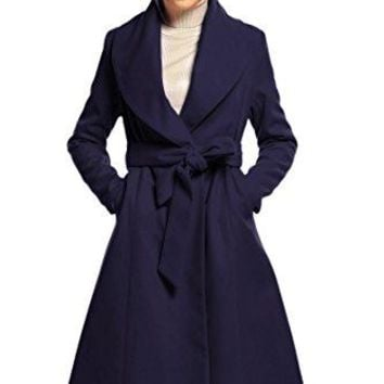 Hotouch Women's Elegant Long Trench Coat Wide Lapel Wrap Swing Wool Blend Coat Overcoat