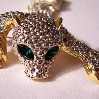 Green Eyes Wild Cat Animal Pin Brooch Silver Gold Tone Vintage Clear Faceted Glass Stones Long Textured Shoulder Pebbled Movable Links Two