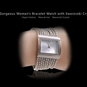 Women Swarovski Crystal Quartz Bangle Wrist Watch Girl Cuff Analog Hour
