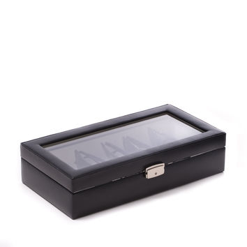 Black Leather MultiPurpose Case with Glass Top and Locking Clasp