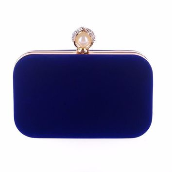 Ladies Small Velvet Evening Bag With Pearl and Crystal Hasp.    High Quality Velvet with Satin Interior.   Available in Blue, Black, Red, Purple and Rose.    ***FREE SHIPPING***