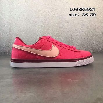 NIKE COURT ROYALE canvas low to help wild school board shoes F-PSXY Rose red + beige hook