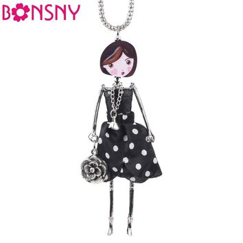 Bonsny  Handmade Statement French Doll Necklaces Maxi Long Chain Pendant 2016 Alloy Bohemian News Choker Girls Women Accessories