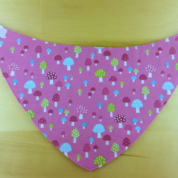 Baby Girl Bandana Bib~ Mushrooms and Stripes ~ Reversible