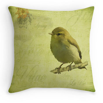 Vintage Style Bird Throw Pillow, Spring Green Scatter Cushion, 16x16, Gardener, Bird Lover Gift