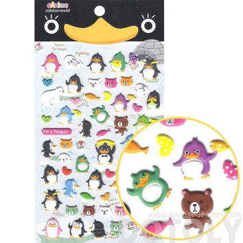 Penguin and Teddy Bear Shaped Funny Cartoon Puffy Stickers | Cute Animal Themed Scrapbook Decorating Supplies