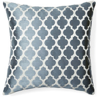 Moroccan 20x20 Embroidered Pillow, Gray, Decorative Pillows