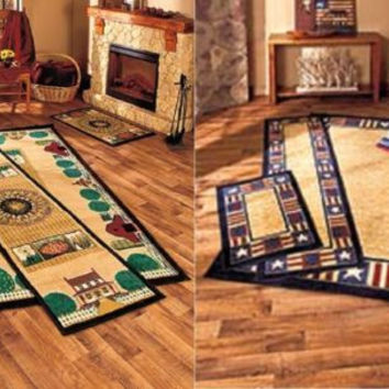 Country Farm Americana Theme Rugs Area Accent Runner Cabin Cottage Primitive NEW